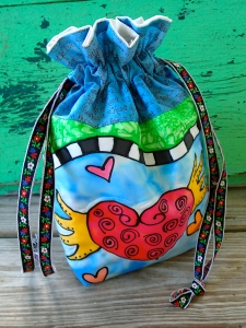 silk painted drawstring bag