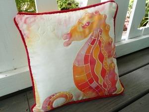 silk seahorse pillow